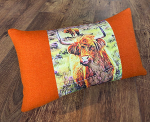 Handmade Highland Cow and Orange Harris Tweed Cushion