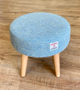 Light Blue & Green Harris Tweed Footstool with Varnished Wooden Legs