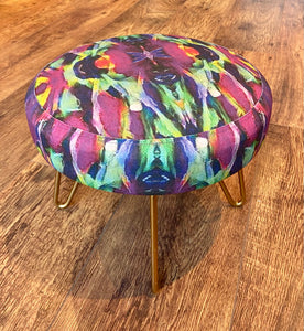Eclectic Mini Footstool with Gold Hairpin Legs - Limited Edition