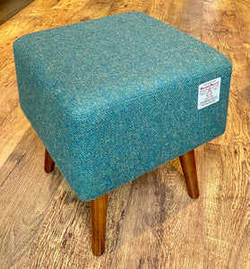 Green Square Footstool, Harris Tweed with Dark Varnished Wooden Legs