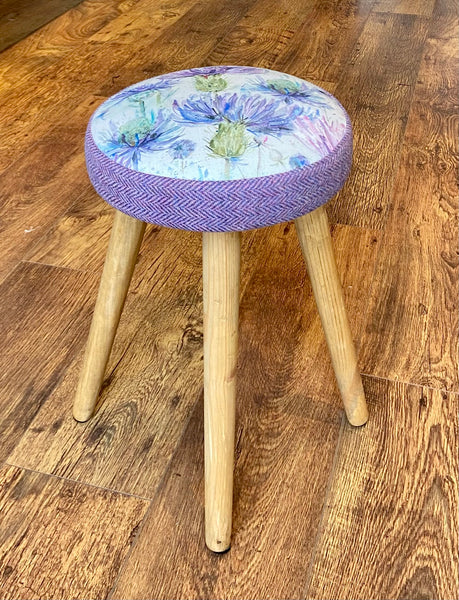 Thistle and Lilac Harris Tweed Stool with Rustic Wooden Legs