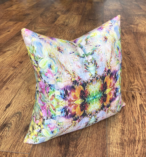 Small Handmade Floral Art Cushion, 14""