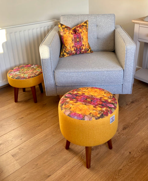 Vibrant Abstract Print and Yellow Harris Tweed Cushion, Handmade, 16""