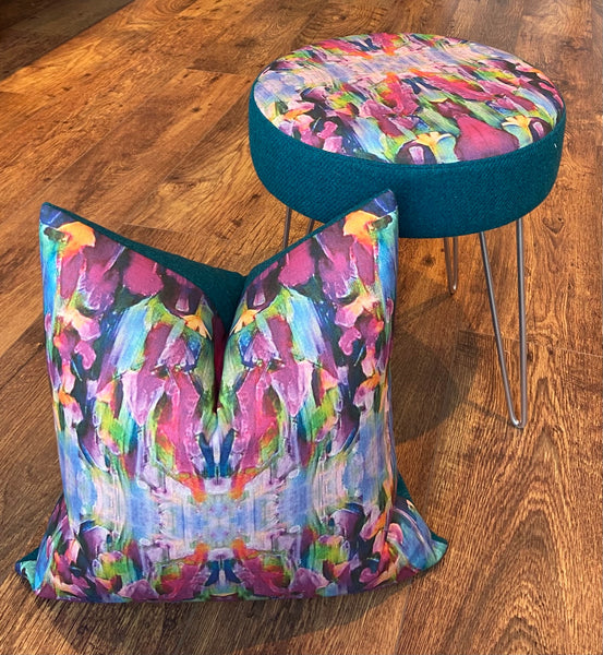 Vibrant Abstract Print and Teal Harris Tweed Cushion, Handmade, 18""