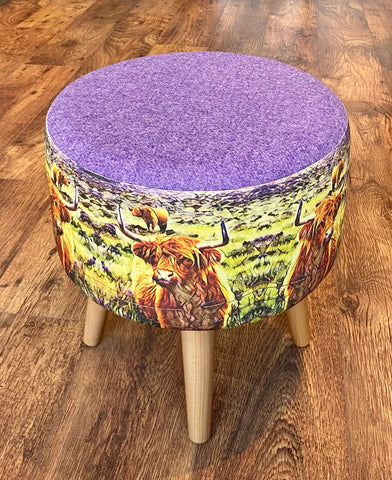 Highland Cow and Lilac Harris Tweed Footstool