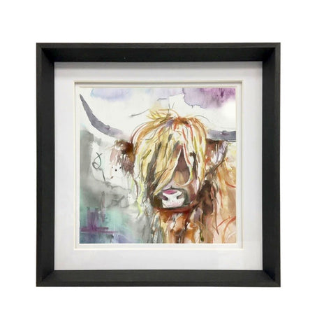 Black Framed and Mounted Highland Cow Wall Art - Large