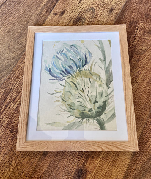 Framed Watercolour Thistle Print Wall Art - Portrait