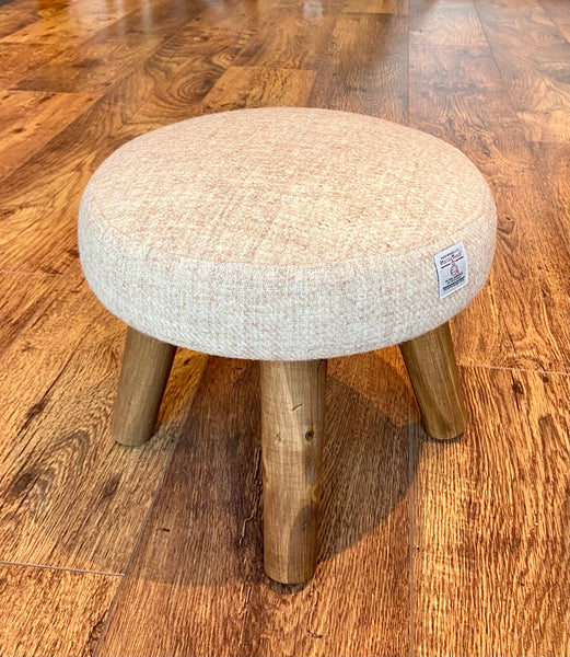 Oatmeal Cream Harris Tweed Footstool with Rustic Dark Varnished Wooden Legs