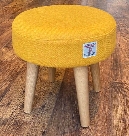 Yellow Harris Tweed Footstool with Varnished Wooden Legs