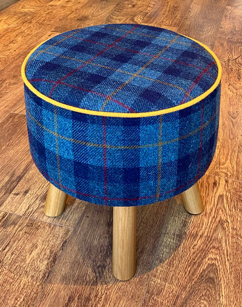 Blue Tartan Harris Tweed Footstool with Yellow Piping and Rustic Wooden Legs.
