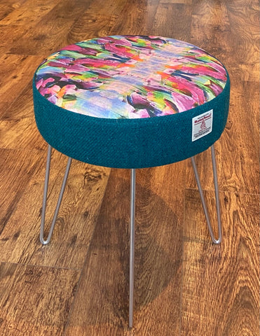 Vibrant Abstract Print and Teal Harris Tweed Hairpin Footstool with Silver Legs
