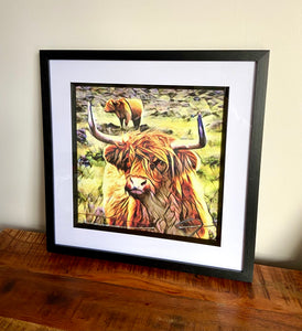 Square Framed Highland Cow Textured Wall Art - Landscape