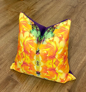 Vibrant Orange Floral Cushion with Purple Harris Tweed, Handmade, 16""