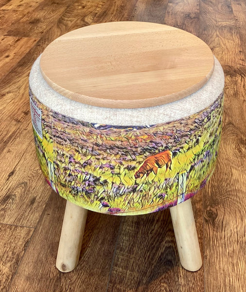 End Table: Highland Cow and Oatmeal Harris Tweed Footstool with Rustic Wooden Top and Legs