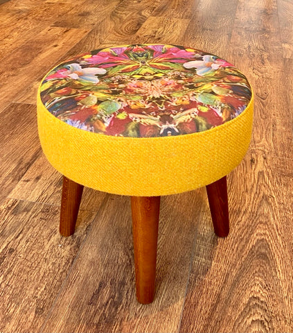 Floral Art and Yellow Harris Tweed Footstool with Varnished Wooden Legs