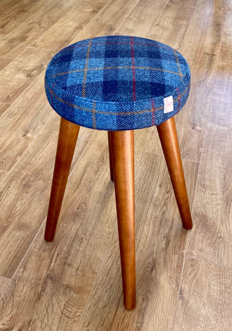 Blue Tartan Harris Tweed Stool * New Taller Style *