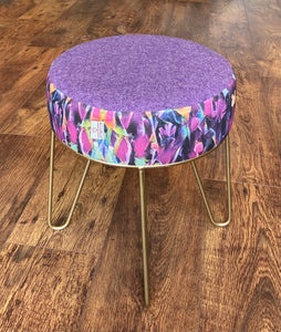 Colourful Abstract Hairpin Footstool with Lilac Harris Tweed