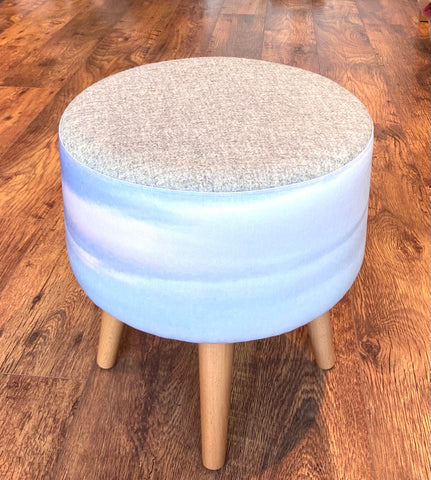 Watercolour Sky and Grey Harris Tweed Footstool with Varnished Wooden Legs