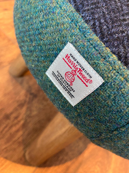Two Tone Green and Blue Harris Tweed Mini Footstool