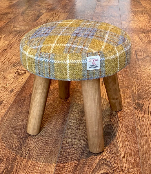 Mustard Tartan Mini Harris Tweed Footstool with Rustic Wooden Legs