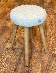 Oatmeal Harris Tweed Upholstered Stool with Rustic Wooden Legs