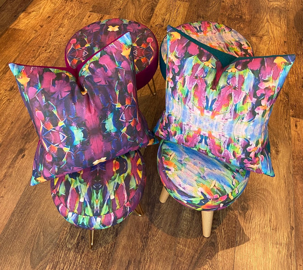 Vibrant Abstract Print and Harris Tweed Cushion, Handmade, 18""