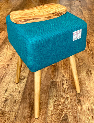 Square End Table: Teal Harris Tweed with olive wood top and Rustic Wooden Legs