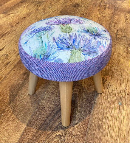 Thistle and Lilac Harris Tweed Footstool with Varnished Wooden Legs