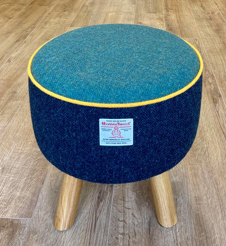 Navy and Green Harris Tweed Footstool with Yellow Piping and Rustic Wooden Legs