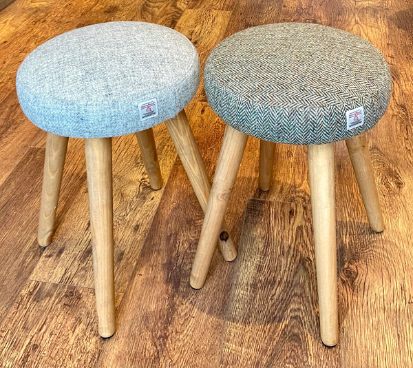 Grey Harris Tweed Dressing Table Stool with Rustic Wooden Legs