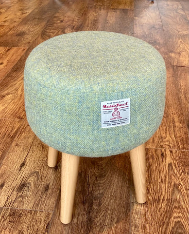 Light Green Harris Tweed Footstool with Varnished Wooden Legs