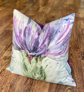 Arty Thistle and Purple Harris Tweed Cushion, Handmade, 18""