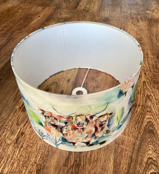 Watercolour Highland Cow Lampshade (40cm)
