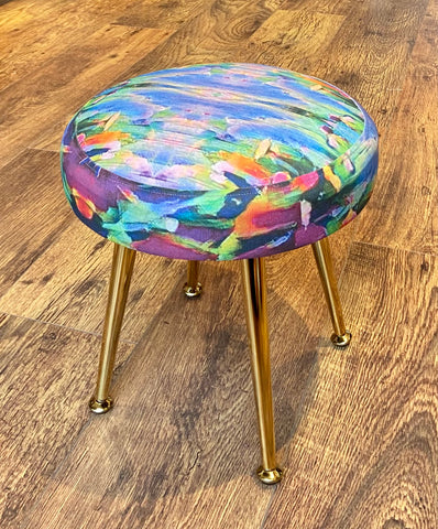 Colourful Small Footstool with Gold Legs - Limited Edition