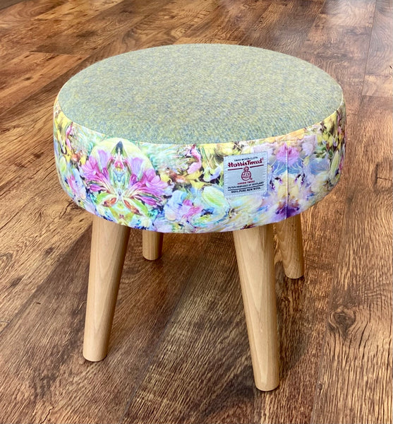 Floral Limited Edition Footstool with Green Harris Tweed and Varnished Wooden Legs