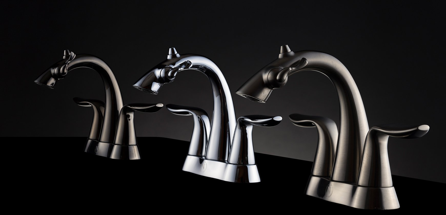 Group photo of Nasoni Centerset Fountain Faucets on Black Background