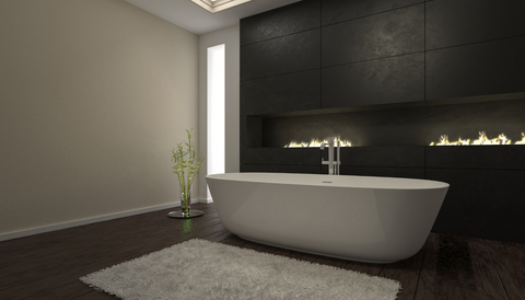 A glamorous fireplace in your dreamy black bathroom is a sure way to make your time in the bathroom truly luxurious.