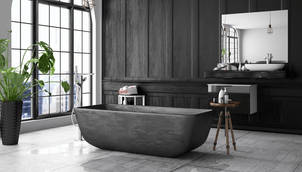 Black and white bathrooms especially contain black accessories to fulfill the criteria. Black planters set along the window allow the golden sun rays to fall directly on them, offering a majestic view.