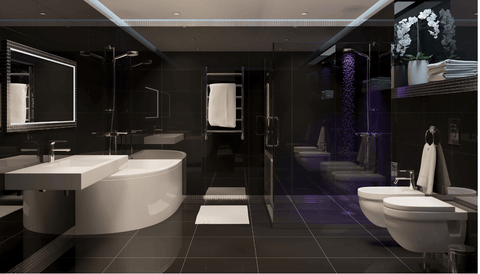 Black tiles on walls and floors theme allows you to play around with different colors, and you can incorporate them into bathroom fixtures and bathroom faucets.