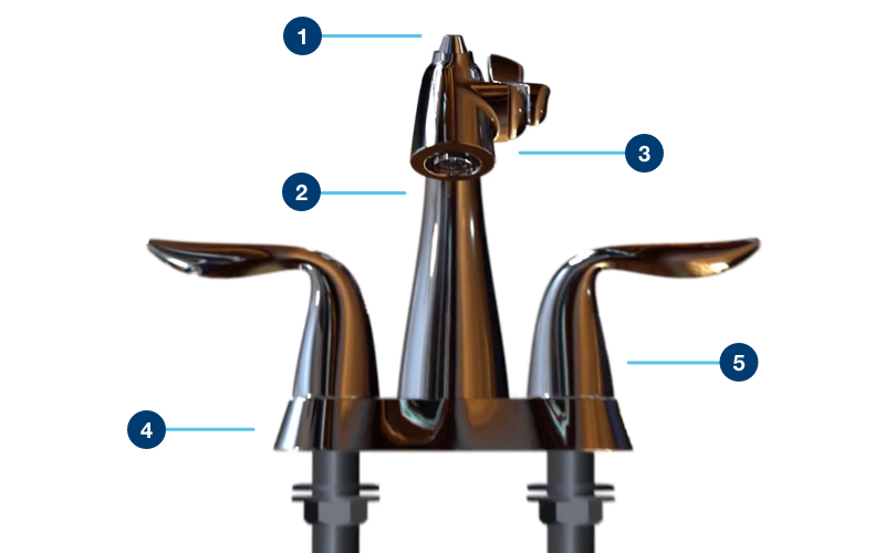 Polished Chrome Nasoni Centerset Fountain Faucet front view with callouts