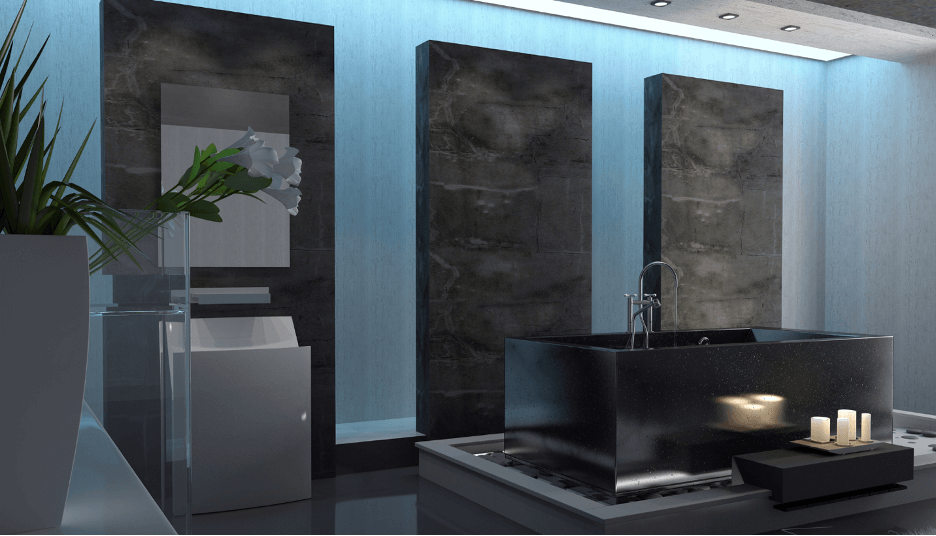 Dark Majesty Master Bathroom - . If you have a taste for darker bathrooms, you are indeed in for a treat, as this dark marble will definitely tickle your fancy.