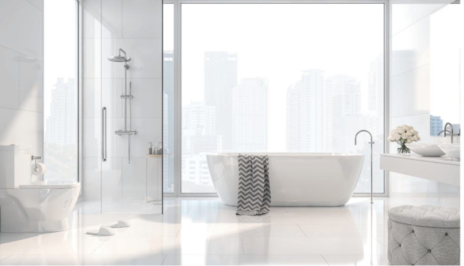 Exclusively white master bathroom.  Nothing screams relaxation, wellbeing, and indulgence more than having a warm bubble bath with a view!