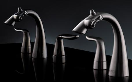 Widespread Nasoni fountain faucets on black background
