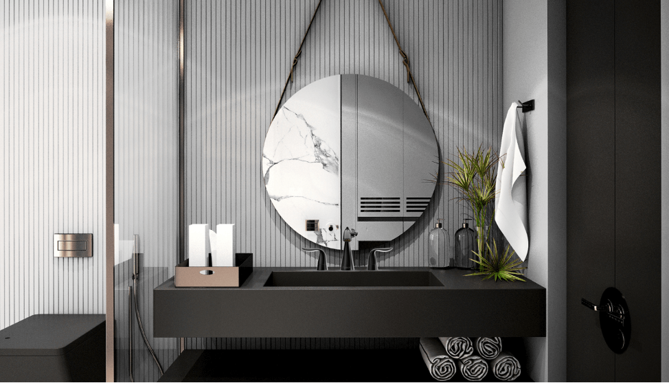 Modern Chic Master Bathroom. This elegant and modern bathroom has been designed to help the owner relax while helping them save the planet.