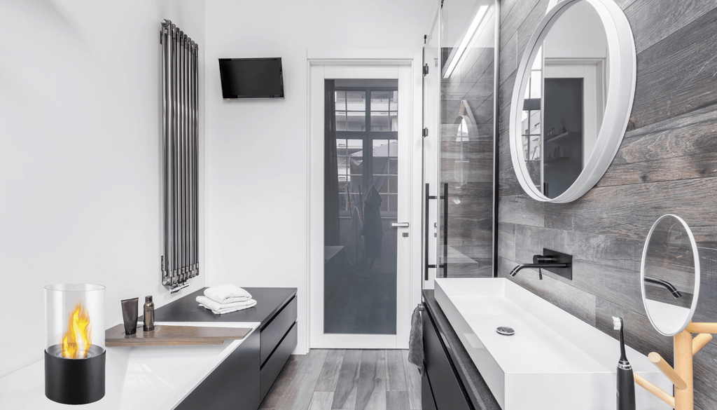 Tabletop Fireplace in the bathroom