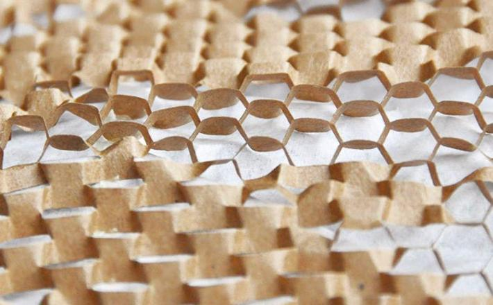 Eco-friendly honeycomb paper packaging closeup