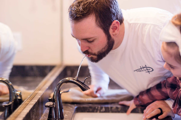 Teach Kids to save water with a Nasoni bathroom fountain faucet