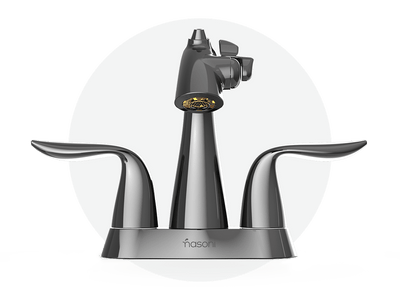 Front View of Gloss Black Nickel Nasoni Centerset Fountain Faucet