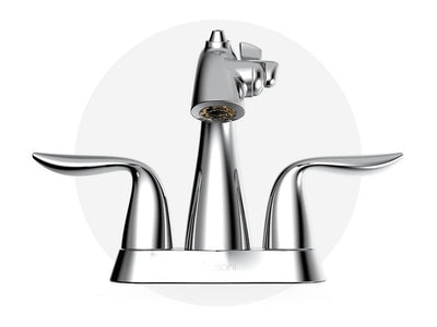 Front View of Polished Chrome Nasoni Centerset Fountain Faucet