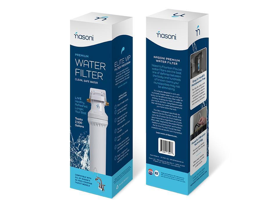 Nasoni Premium Water Filter Packaging Front and Back View on White Background